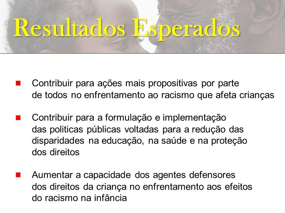 Resultados Esperados n Contribuir para ações mais propositivas por parte de todos no enfrentamento ao racismo que afeta crianças.