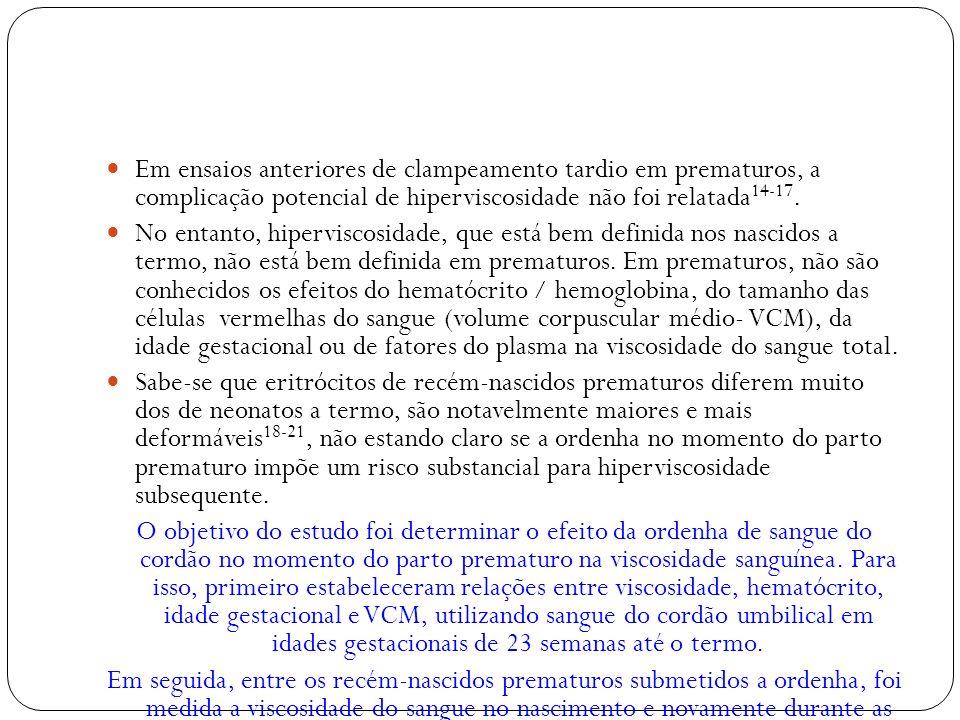 Em ensaios anteriores de clampeamento tardio em prematuros, a complicação potencial de hiperviscosidade não foi relatada14-17.