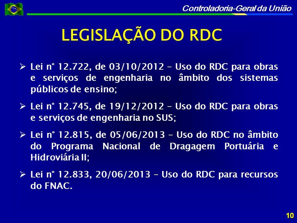 LEGISLAÇÃO DO RDC Lei n° 12.722, de 03/10/2012 – Uso do RDC para obras e serviços de engenharia no âmbito dos sistemas públicos de ensino;