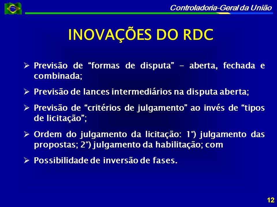 INOVAÇÕES DO RDC Previsão de formas de disputa - aberta, fechada e combinada; Previsão de lances intermediários na disputa aberta;