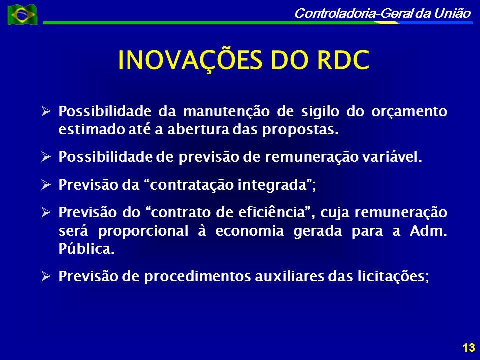 INOVAÇÕES DO RDC Possibilidade da manutenção de sigilo do orçamento estimado até a abertura das propostas.