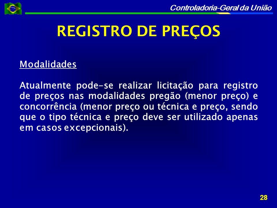REGISTRO DE PREÇOS Modalidades