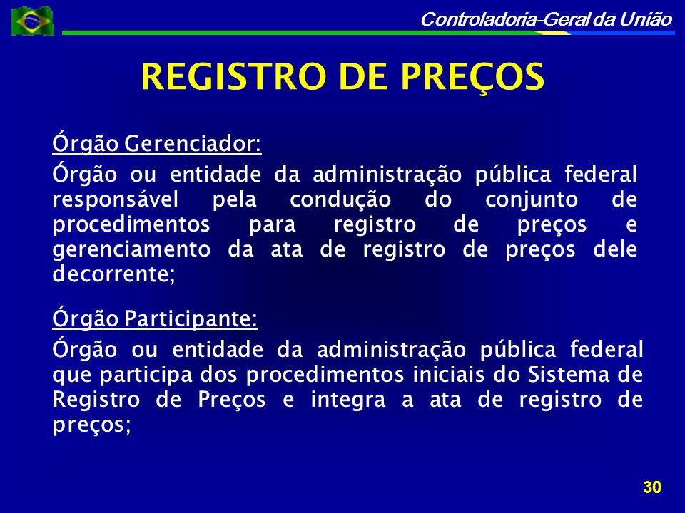 REGISTRO DE PREÇOS Órgão Gerenciador: