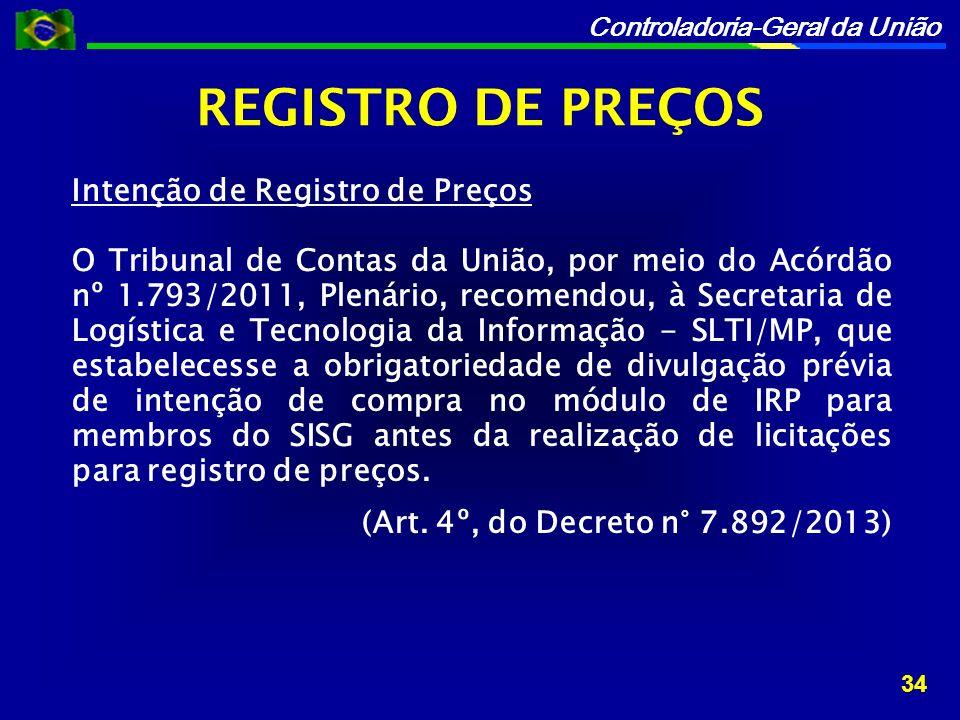 REGISTRO DE PREÇOS Intenção de Registro de Preços