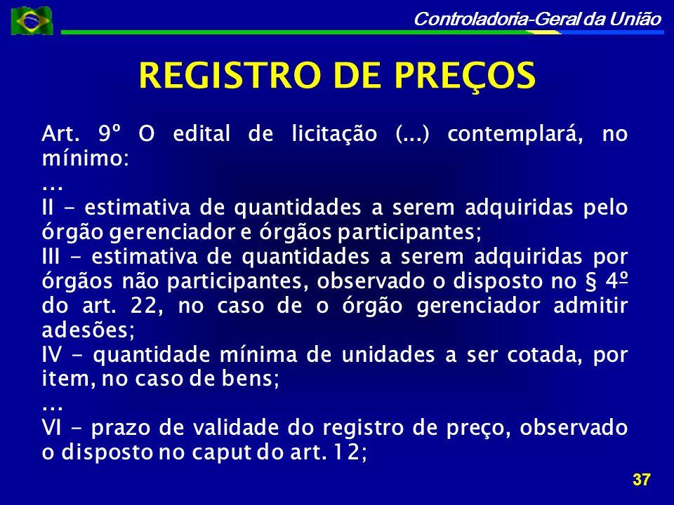 REGISTRO DE PREÇOS Art. 9º O edital de licitação (...) contemplará, no mínimo: ...