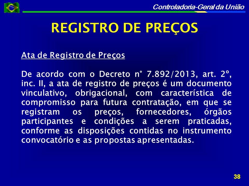 REGISTRO DE PREÇOS Ata de Registro de Preços
