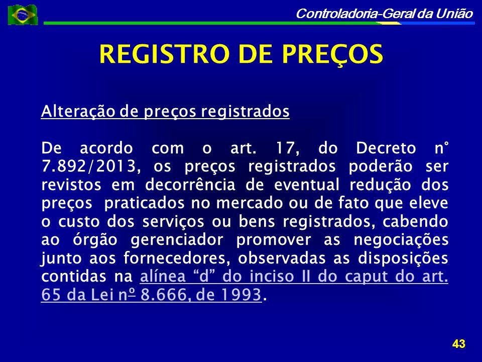 REGISTRO DE PREÇOS Alteração de preços registrados