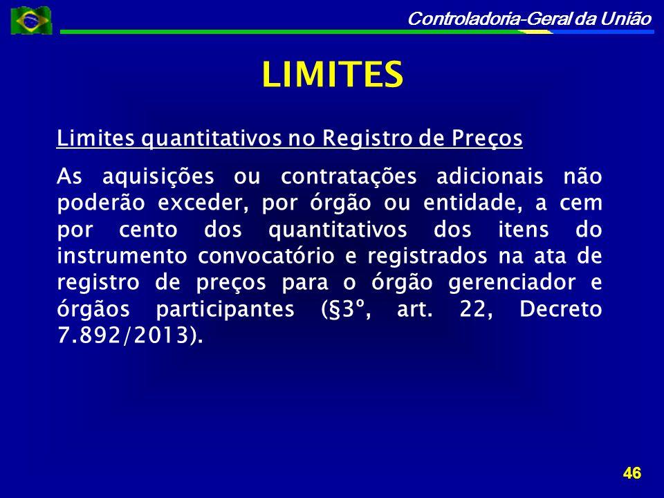 LIMITES Limites quantitativos no Registro de Preços