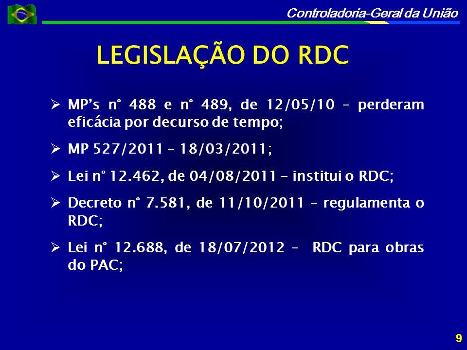 LEGISLAÇÃO DO RDC MP's n° 488 e n° 489, de 12/05/10 – perderam eficácia por decurso de tempo; MP 527/2011 – 18/03/2011;