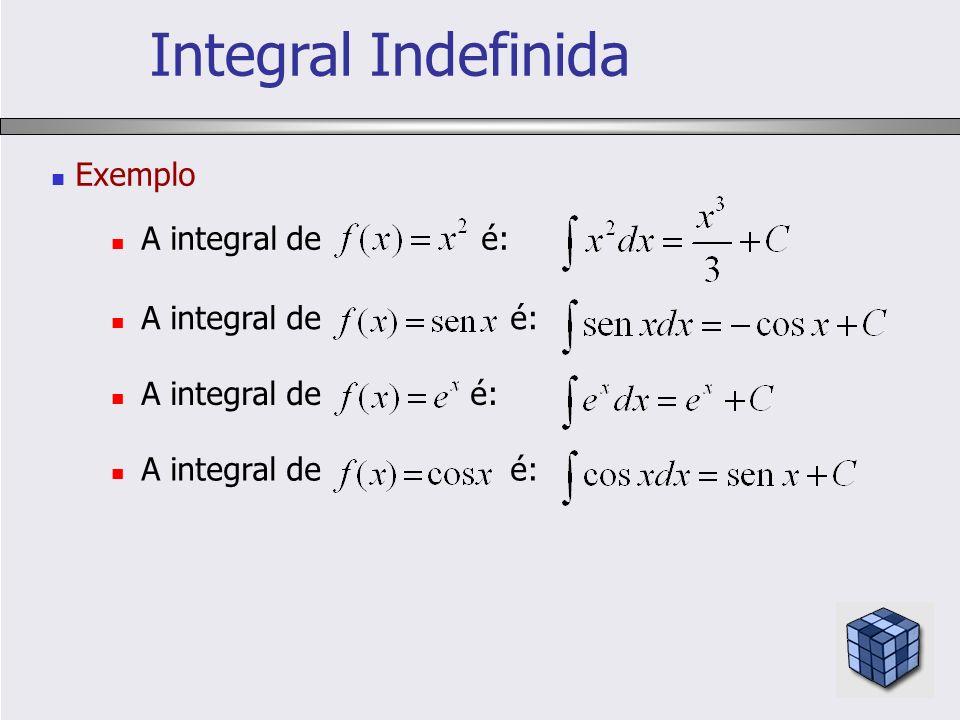 Integral Indefinida Exemplo A integral de é: A integral de é: