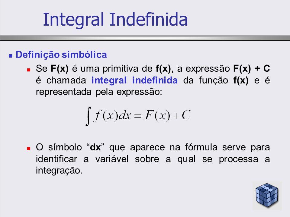 Integral Indefinida Definição simbólica