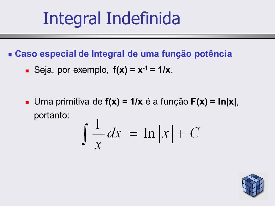 Integral Indefinida Caso especial de Integral de uma função potência