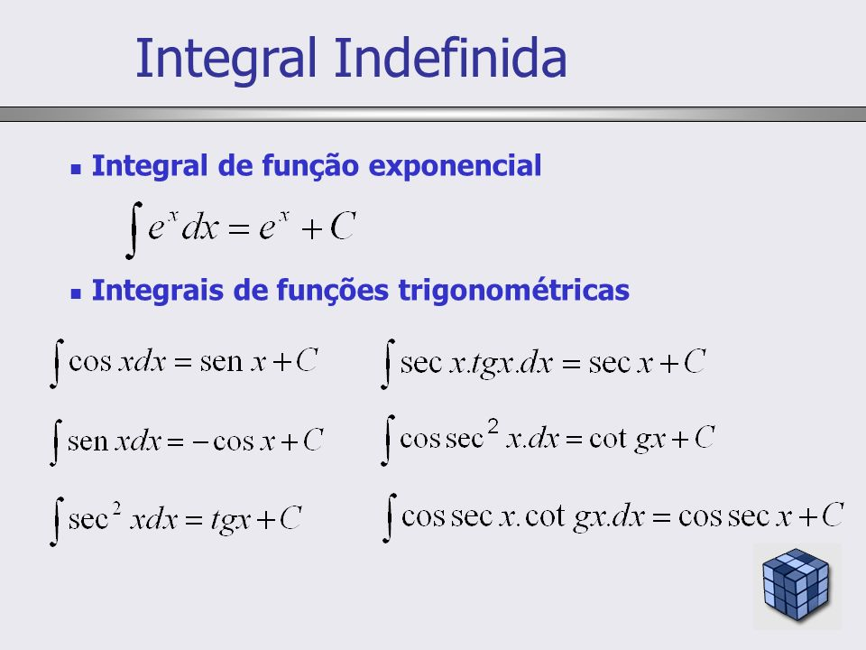 Integral Indefinida Integral de função exponencial