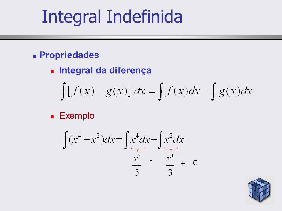 Integral Indefinida Propriedades Integral da diferença Exemplo - + C