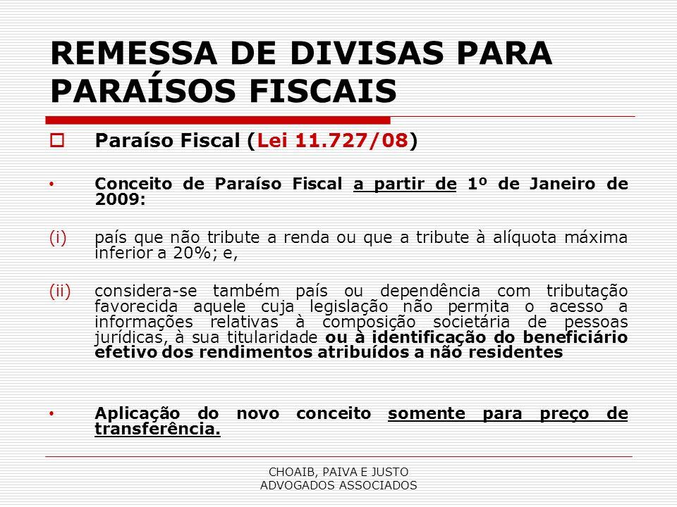 REMESSA DE DIVISAS PARA PARAÍSOS FISCAIS