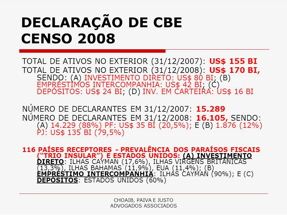 DECLARAÇÃO DE CBE CENSO 2008