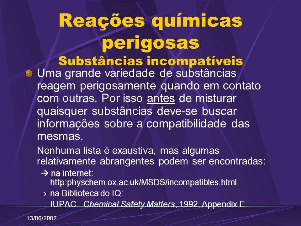 Reações químicas perigosas Substâncias incompatíveis