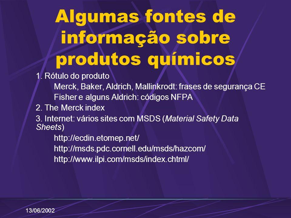 Algumas fontes de informação sobre produtos químicos