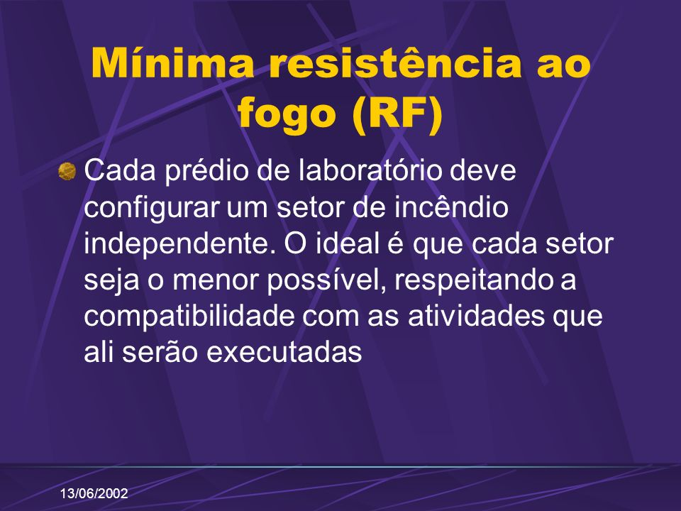 Mínima resistência ao fogo (RF)