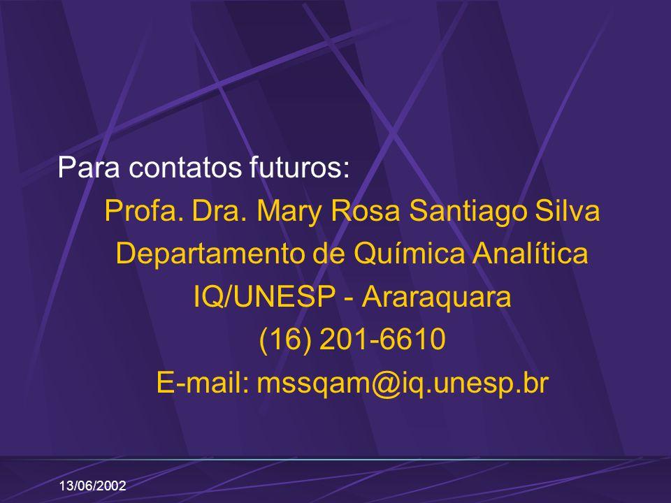 Para contatos futuros: Profa. Dra. Mary Rosa Santiago Silva