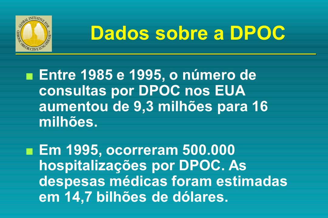 Dados sobre a DPOC Entre 1985 e 1995, o número de consultas por DPOC nos EUA aumentou de 9,3 milhões para 16 milhões.