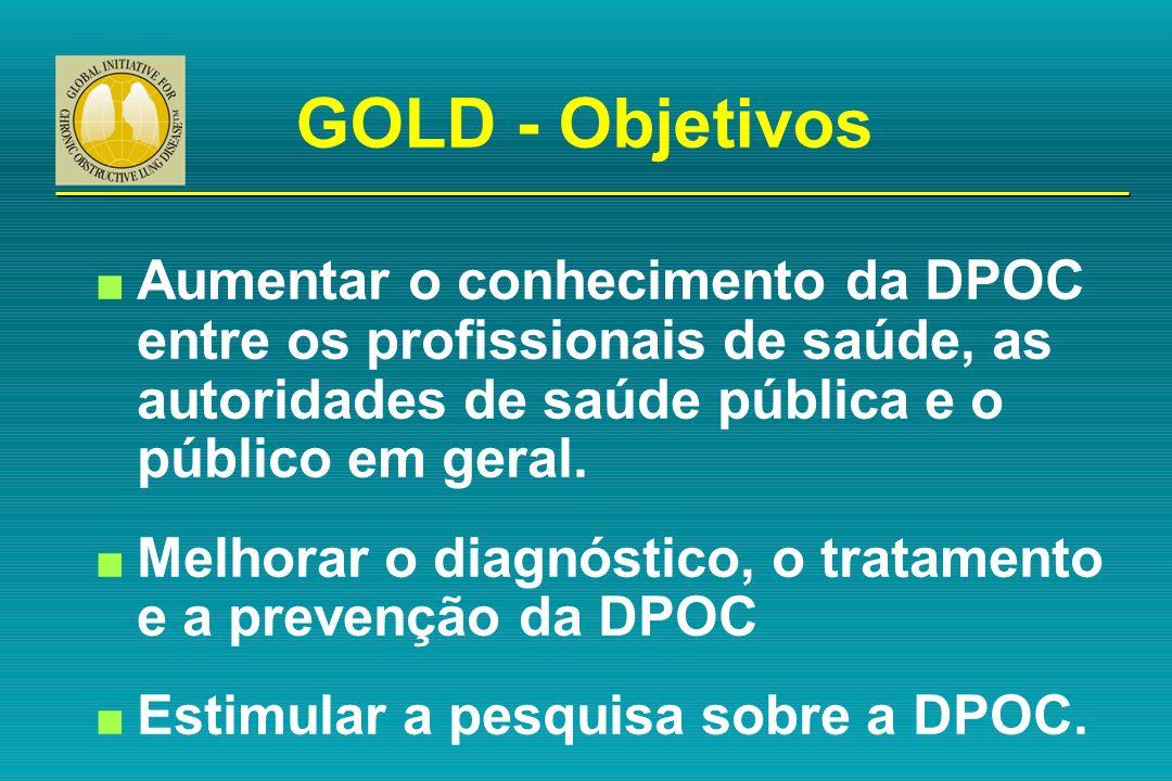 GOLD - Objetivos Aumentar o conhecimento da DPOC entre os profissionais de saúde, as autoridades de saúde pública e o público em geral.