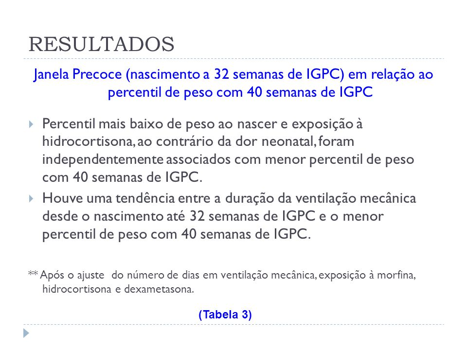 RESULTADOS Janela Precoce (nascimento a 32 semanas de IGPC) em relação ao percentil de peso com 40 semanas de IGPC.