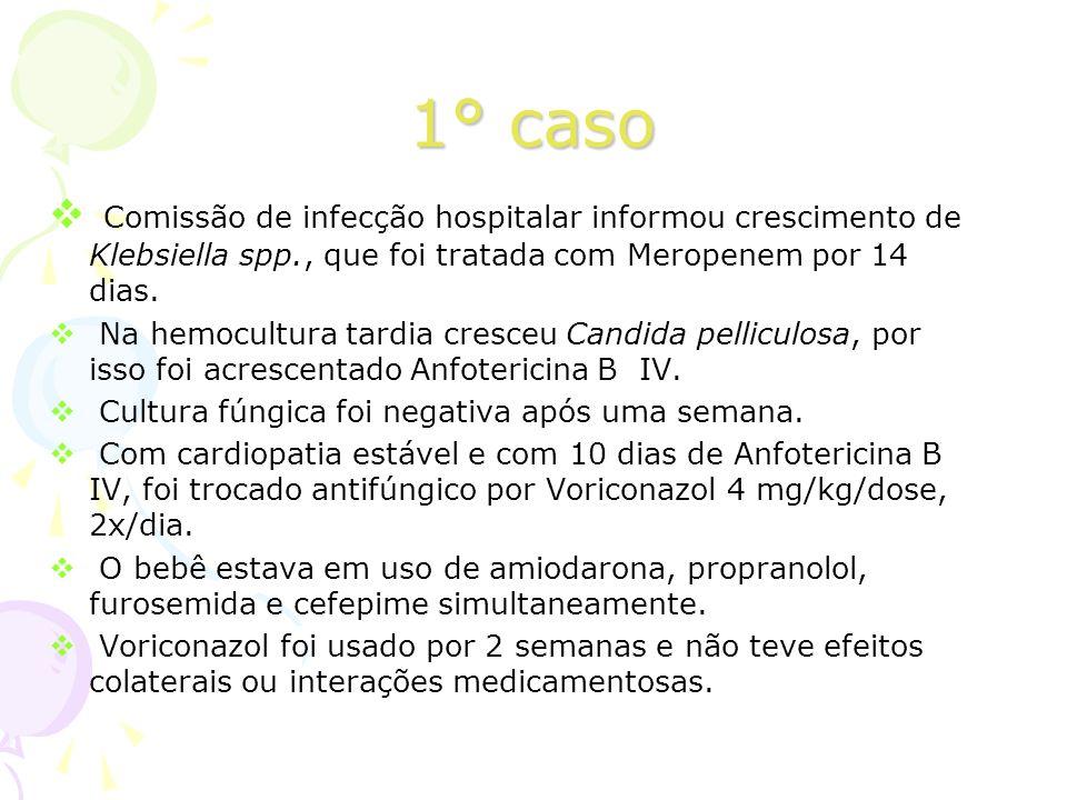 1° caso Comissão de infecção hospitalar informou crescimento de Klebsiella spp., que foi tratada com Meropenem por 14 dias.