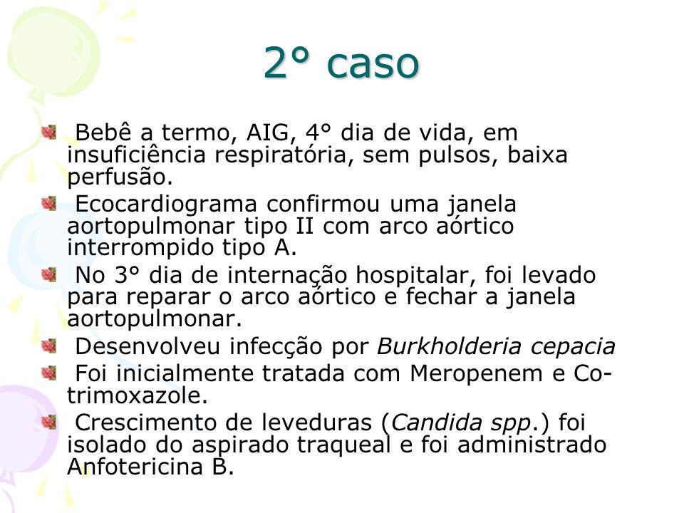 2° caso Bebê a termo, AIG, 4° dia de vida, em insuficiência respiratória, sem pulsos, baixa perfusão.