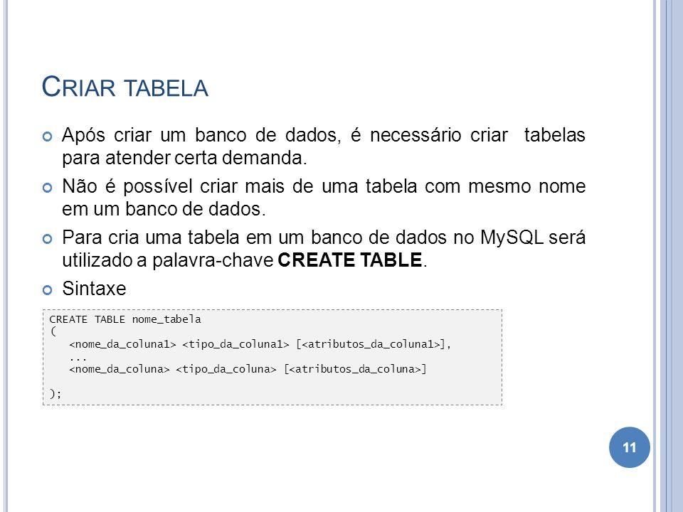 Criar tabela Após criar um banco de dados, é necessário criar tabelas para atender certa demanda.