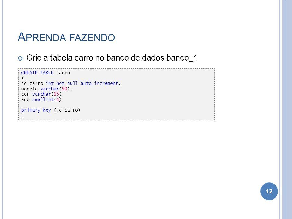 Aprenda fazendo Crie a tabela carro no banco de dados banco_1