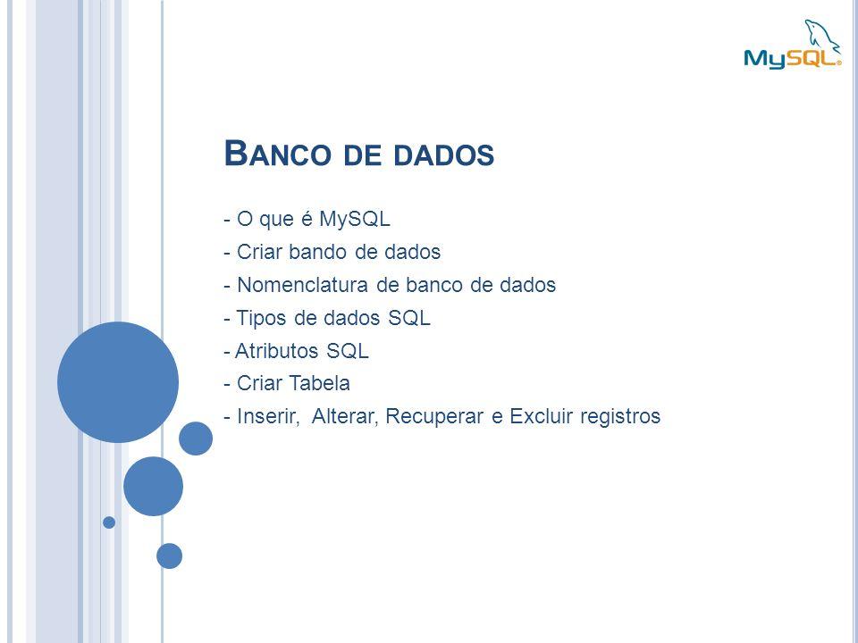 Banco de dados - O que é MySQL - Criar bando de dados