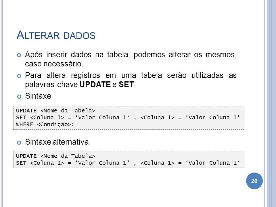 Alterar dados Após inserir dados na tabela, podemos alterar os mesmos, caso necessário.