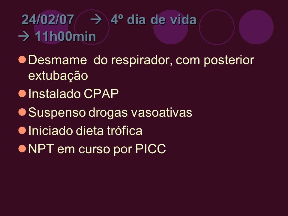24/02/07  4º dia de vida  11h00min Desmame do respirador, com posterior extubação. Instalado CPAP.