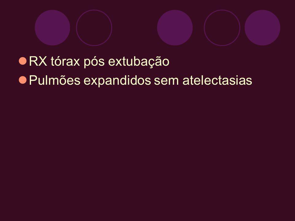 RX tórax pós extubação Pulmões expandidos sem atelectasias