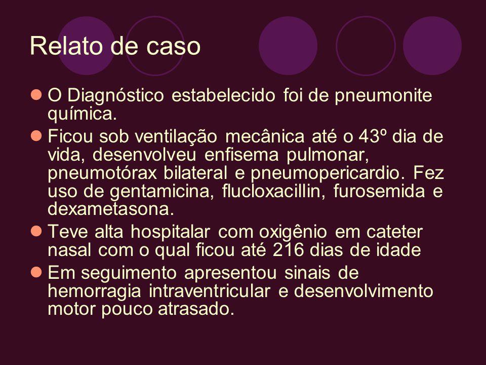 Relato de caso O Diagnóstico estabelecido foi de pneumonite química.