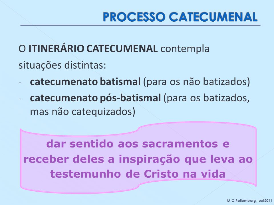 PROCESSO CATECUMENAL O ITINERÁRIO CATECUMENAL contempla