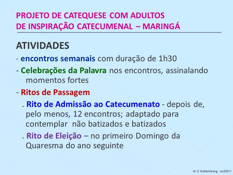 ATIVIDADES PROJETO DE CATEQUESE COM ADULTOS