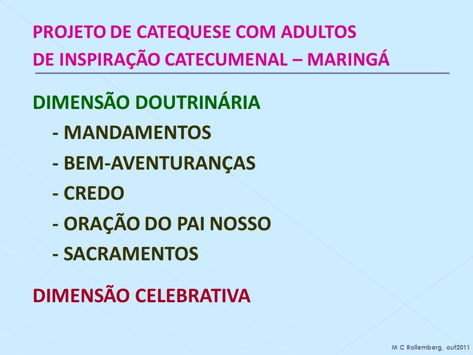 DIMENSÃO DOUTRINÁRIA - MANDAMENTOS - BEM-AVENTURANÇAS - CREDO