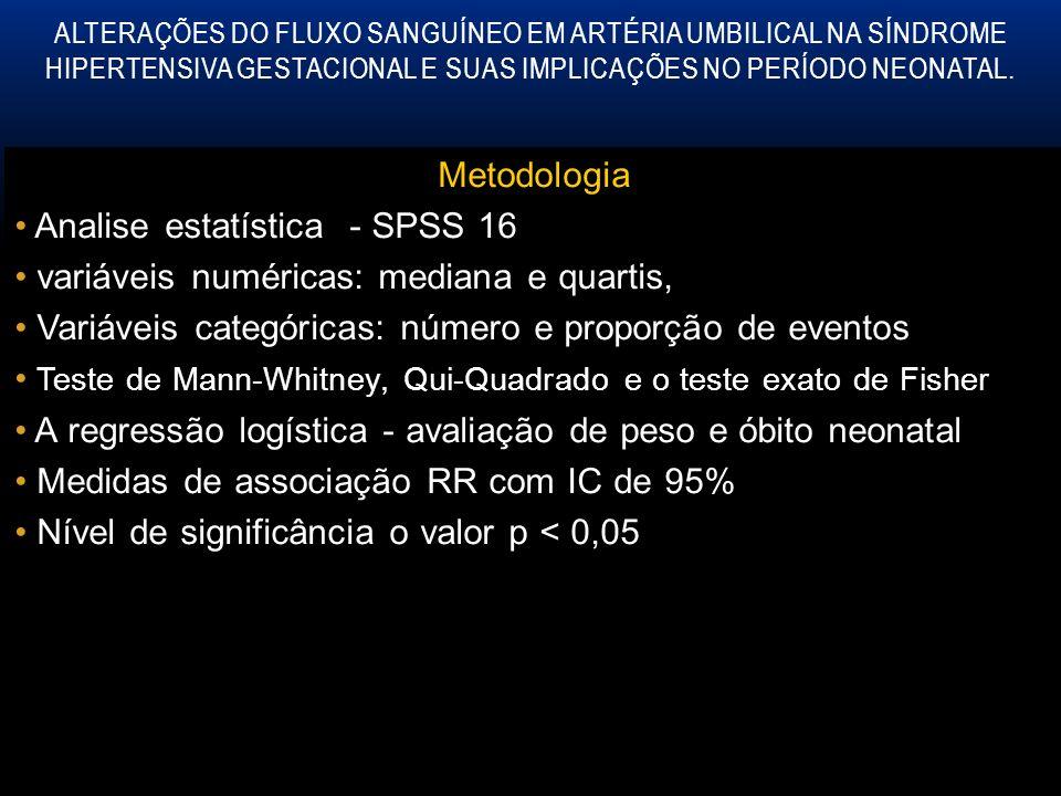 Analise estatística - SPSS 16 variáveis numéricas: mediana e quartis,