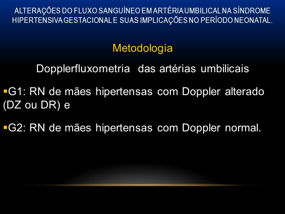 Dopplerfluxometria das artérias umbilicais