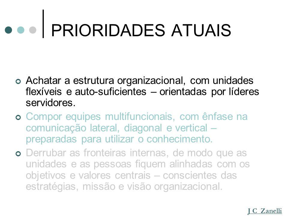 PRIORIDADES ATUAIS Achatar a estrutura organizacional, com unidades flexíveis e auto-suficientes – orientadas por líderes servidores.