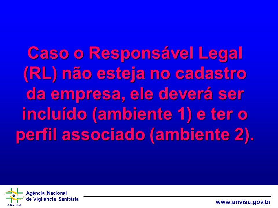 Caso o Responsável Legal (RL) não esteja no cadastro da empresa, ele deverá ser incluído (ambiente 1) e ter o perfil associado (ambiente 2).