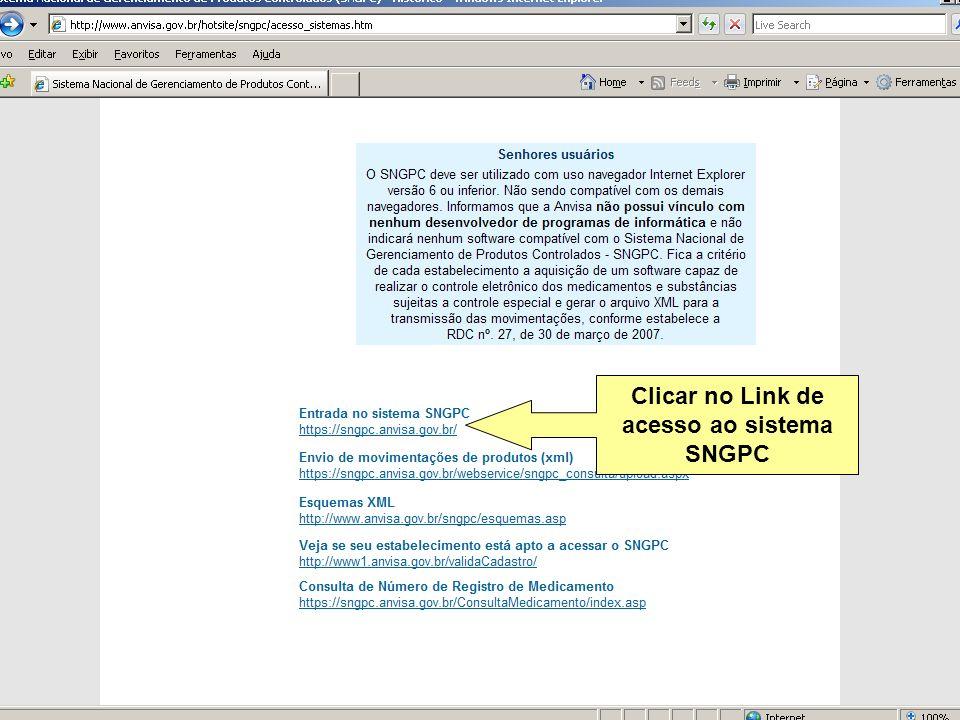 Clicar no Link de acesso ao sistema SNGPC