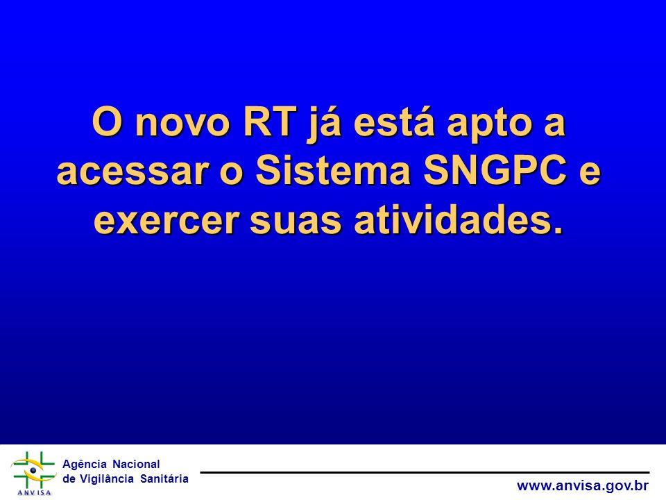 O novo RT já está apto a acessar o Sistema SNGPC e exercer suas atividades.