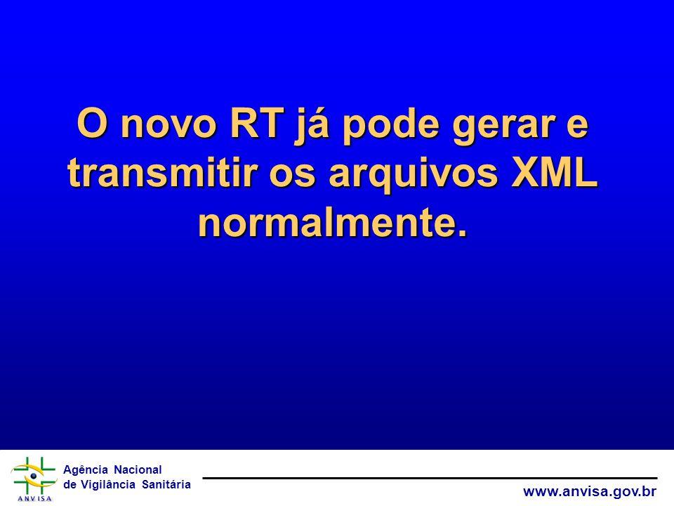 O novo RT já pode gerar e transmitir os arquivos XML normalmente.