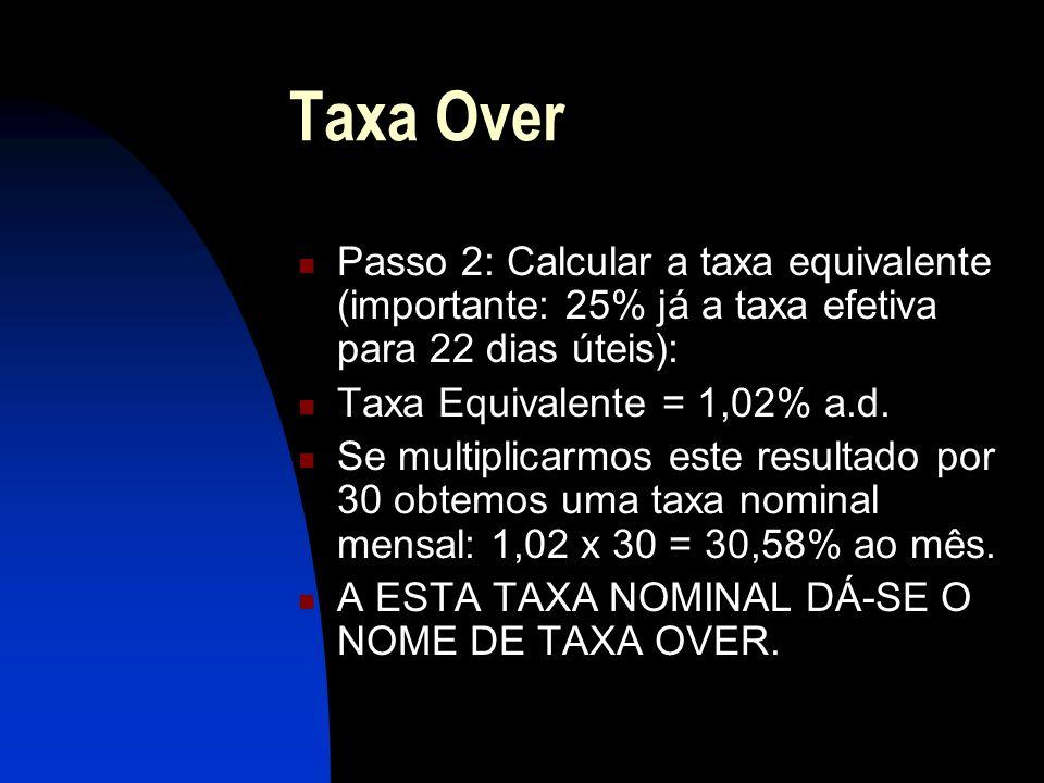 Taxa Over Passo 2: Calcular a taxa equivalente (importante: 25% já a taxa efetiva para 22 dias úteis):
