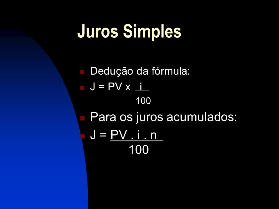 Juros Simples Para os juros acumulados: J = PV . i . n 100