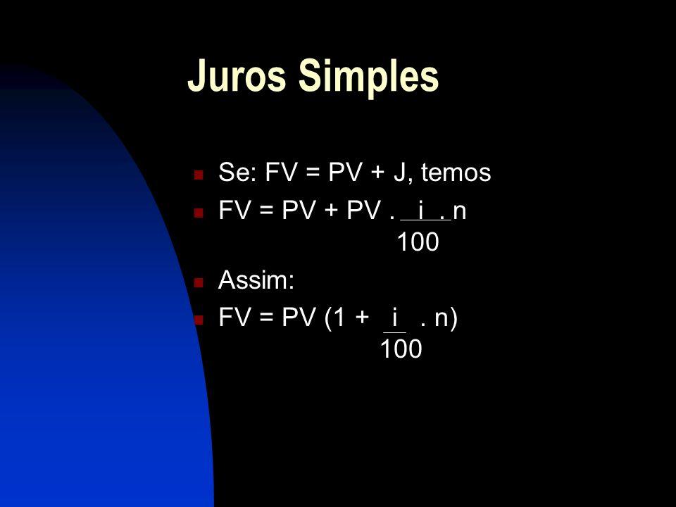 Juros Simples Se: FV = PV + J, temos FV = PV + PV . i . n 100 Assim: