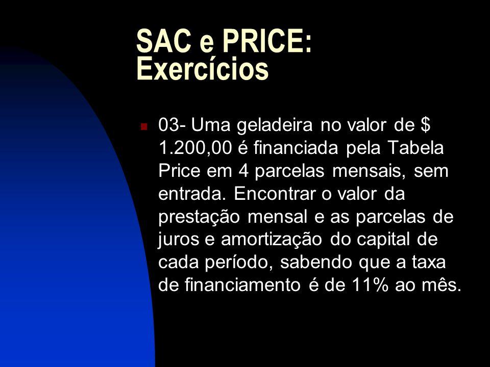SAC e PRICE: Exercícios